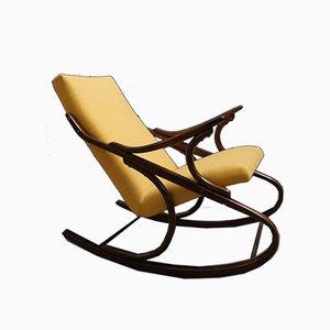Rocking Chair en Bois Courbé Jaune de Thonet, 1960s