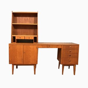 Mid-Century Scandinavian Teak Desk with Bookcase, 1950s