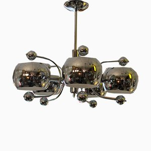 Space Age Italian Chrome Plated Ceiling Lamp
