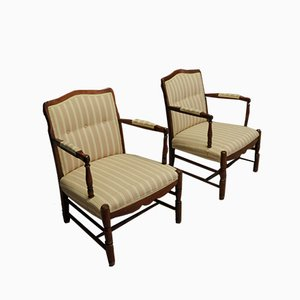 Art Deco Style Wooden Armchairs, 1960s, Set of 2