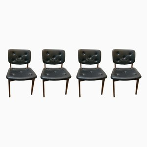 Leatherette and Wood Dining Chairs, 1960s, Set of 4