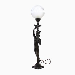 Art Nouveau Bronze and Glass Table Lamp from Herman Bergman Konstgjuteri AB