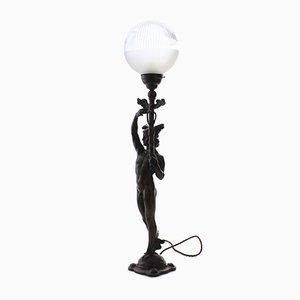 Lámpara de mesa modernista de bronce y vidrio de Herman Bergman Konstgjuteri AB