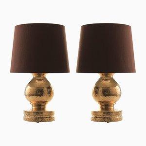 Moderne Tischlampen aus Keramik mit braunen Schirmen im skandinavischen Stil von Bitossi für Luxus, 1960er, 2er Set
