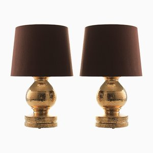 Scandinavian Modern Ceramic Table Lamps with Brown Shades by Bitossi for Luxus, 1960s, Set of 2