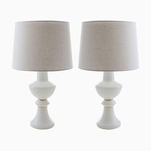 Moderne Tischlampen in Weiß & Gold im skandinavischen Stil von Uno & Östen Kristiansson für Luxus, 1960er, 2er Set