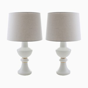 Scandinavian Modern White & Gold Table Lamps by Uno & Östen Kristiansson for Luxus, 1960s, Set of 2