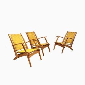 Sillas plegables italianas Mid-Century de teca, años 60. Juego de 3