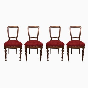 Antique Art Nouveau Dining Chairs, Set of 4
