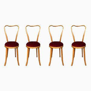 Wooden Dining Chairs, 1960s, Set of 4