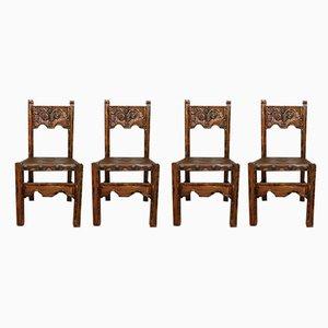 Vintage Esszimmerstühle aus Holz, 1920er, 4er Set