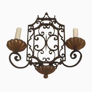 Applique neoclassica in ferro battuto, Francia, anni '40