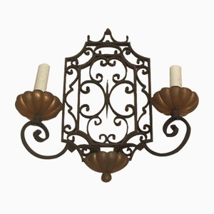 Neo-Classical French Wrought Iron Wall Sconce, 1940s