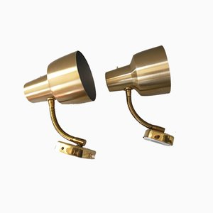 Swiss Brass Steerable Sconces from Armaturhantverk, 1960s, Set of 2