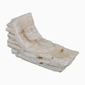 Hand-Carved Egyptian Revival Alabaster Ashtray, 1930s