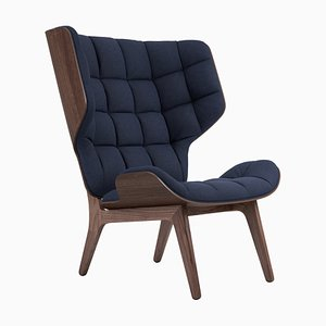 Mammoth Sessel mit dunklem Gestell & marineblauem Wollbezug von Rune Krojgaard & Knut Bendik Humlevik für Norr11
