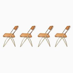 Italian Plia Folding Chairs by Giancarlo Piretti for Castelli, 1960s, Set of 4