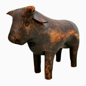 Mid-Century Leather Bull Ottoman by Dimitri for Omersa, 1960s