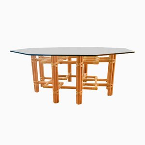 Table Basse en Rotin et Verre de McGuire, 1970s