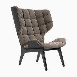 Black Velvet & Taupe Mammoth Chair by Rune Krojgaard & Knut Bendik Humlevik for Norr11