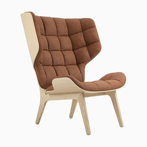 Natural Oak & Rust-Colored Leather Mammoth Chair by Rune Krøjgaard & Knut Bendik Humlevik for Norr11