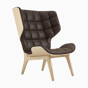 Mammoth Sessel mit naturbelassenem Gestell aus Eiche & dunkelbraunem Lederbezug von Rune Krojgaard & Knut Bendik Humlevik für Norr11
