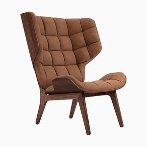 Dark Stained Leather Rust Mammoth Chair by Rune Krojgaard & Knut Bendik Humlevik for NORR11
