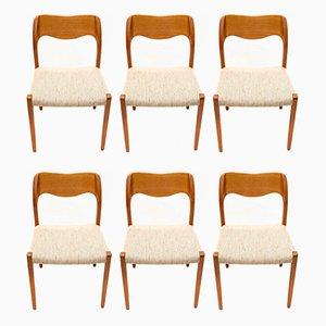 Dänische Modell 71 Esszimmerstühle aus Teak von Niels Otto Møller für J.L. Møllers, 1970er, 6er Set