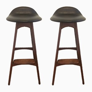 Danish Rosewood and Teak Stools by Erik Buch for O.D. Møbler, 1960s, Set of 2