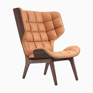 Dark Stained Cognac Leather Mammoth Chair by Rune Krojgaard & Knut Bendik Humlevik for NORR11
