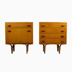 White Glass and Plywood Nightstands from Novy Domov NP, 1970s, Set of 2