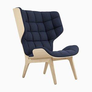 Mammoth Sessel mit naturbelassenem Gestell aus Eiche & marineblauem Wollbezug von Rune Krojgaard & Knut Bendik Humlevik für Norr11
