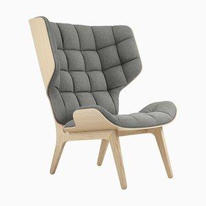Mammoth Sessel mit naturbelassenem Gestell aus Eiche & hellgrauem Wollbezug von Rune Krojgaard & Knut Bendik Humlevik für Norr11