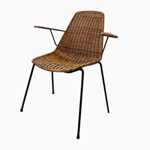 Vintage Iron and Wicker Armchair by Gian Franco Legler
