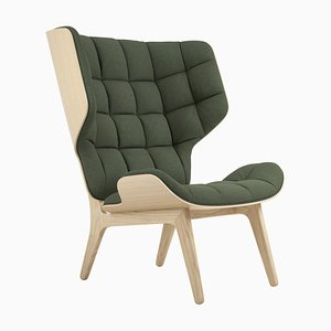 Mammoth Sessel mit naturbelassenem Gestell aus Eiche & waldgrünem Wollbezug von Rune Krojgaard & Knut Bendik Humlevik für Norr11