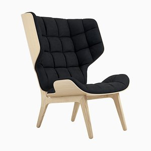 Natural Oak & Velvet Midnight Blue Mammoth Chair by Rune Krojgaard & Knut Bendik Humlevik for Norr11