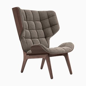 Mammoth Sessel aus dunkel gebeizter Eiche & graubraunem Samt von Rune Krojgaard & Knut Bendik Humlevik für Norr11