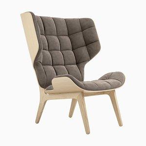 Mammoth Sessel aus natürlicher Eiche & graubraunem Samt von Rune Krojgaard & Knut Bendik Humlevik für Norr11
