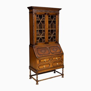 Vintage Oak Secretaire Bookcase, 1920s