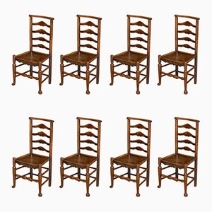 Antique Georgian Ash and Elm Ladderback Dining Chairs, Set of 8