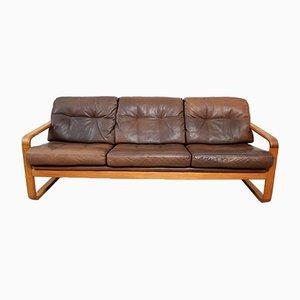 Danish Leather and Teak Sofa from Möbelfabrik Holstebro, 1970s