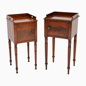 Antique Mahogany Bedside Cabinets, Set of 2