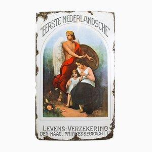 Panneau Publicitaire d'Assurance-Vie Antique en Émail, 1930s