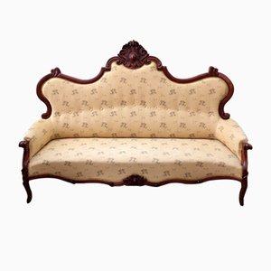Antikes italienisches Sofa mit Gestell aus Nussholz