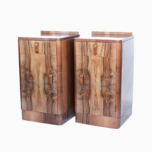 Art Deco Walnut Side Tables, 1930s, Set of 2
