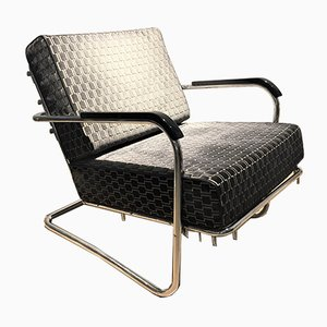 Vintage Black Armchair, 1920s