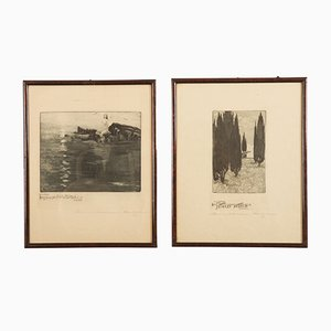 Art Nouveau Etchings by Marianne Hitschmann-Steinberger, Set of 2