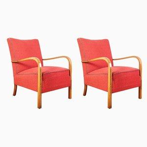 Vintage B963 Sessel mit Gestell aus Nussholz von Thonet, 1930er, 2er Set