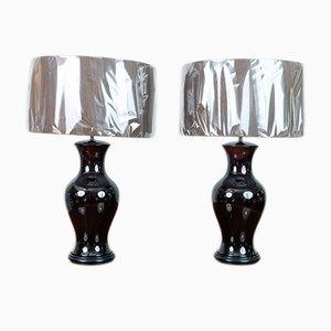 Lámparas de mesa vintage esmaltadas en marrón. Juego de 2