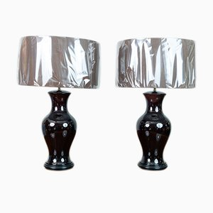 Vintage Brown Glazed Table Lamps, Set of 2